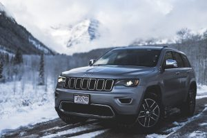 Jeep SUV Driving down the highway